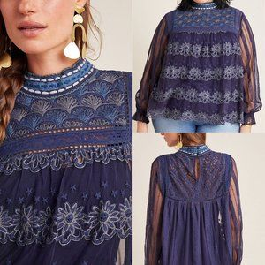 Anthro B^lnk Navy Massey Embroidered Floral Top